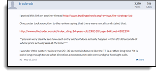 traderob Elitetrader false narrative about a 20 - 30 second delay